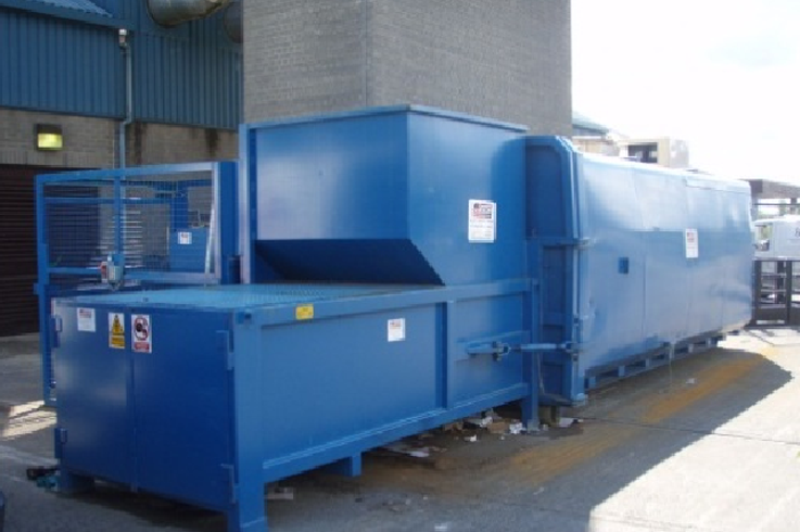Static Waste Compactor With Roro Container Fitted Pierce